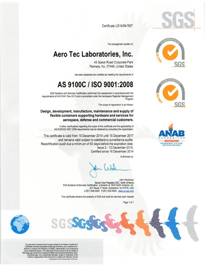 ATL AS 9100 C and ISO 9001:2008 Certificate