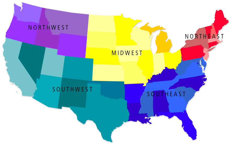 United States Political Geographic Divisions Map US Needs An - Usa map north south east west